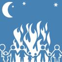 ilustración, persona con extintor junto a un fuego delimitado