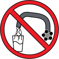 señal roja, prohibido, dibujo de un grifo y un vaso de agua