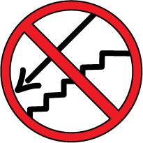 señal roja, prohibido, dibujo de unas escaleras con una flecha hacia abajo