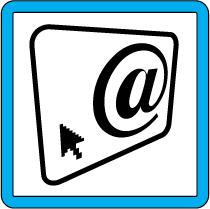 señal azul, dibujo de una pantalla de ordenador con grafismos