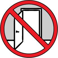 señal roja, prohibido, dibujo de una puerta abierta