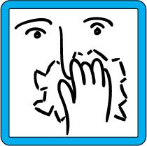 señal azul, dibujo de una rostro tapándose con un pañuelo