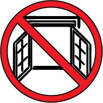 señal roja, prohibido, dibujo de una ventana abierta