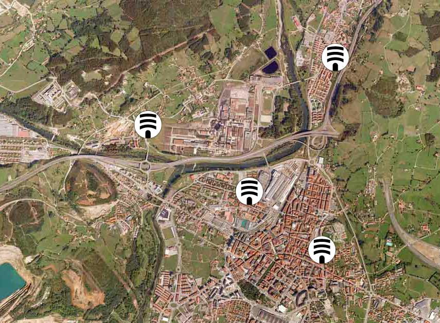 plano aereo de Torrelavega, localizacion de sirenas de emergencia